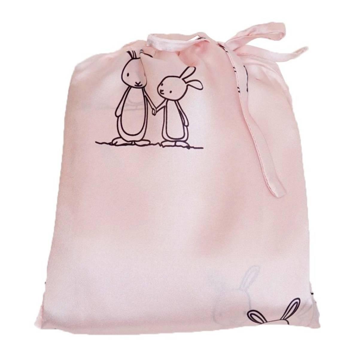 Sengesett i silke til barn - lys rosa