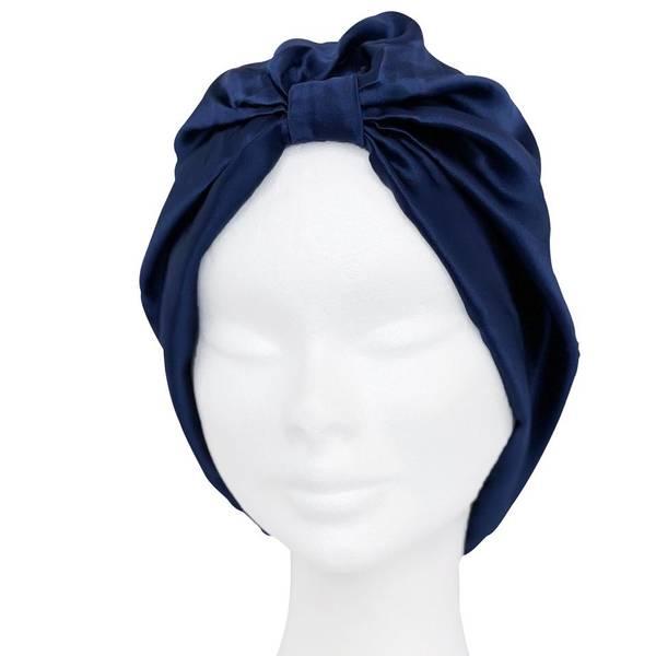 Bilde av Sove turban i silke-mørkeblå