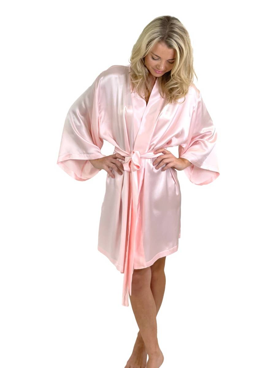 Kimono i silke - lys rosa